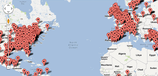 See worldwide Twitter action plotted on a map in real time