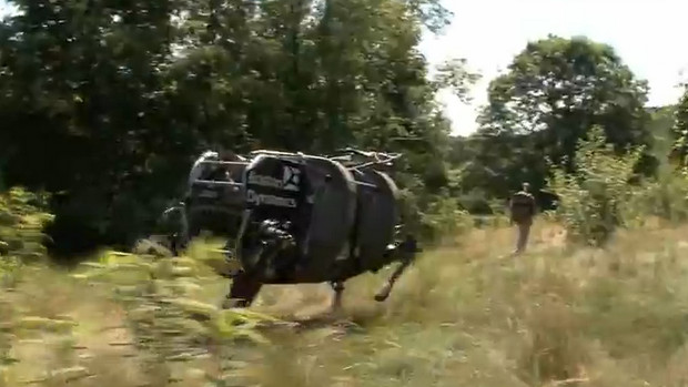 Run! The all-scampering DARPA LS3 robo-dog is scuttling through the woods!