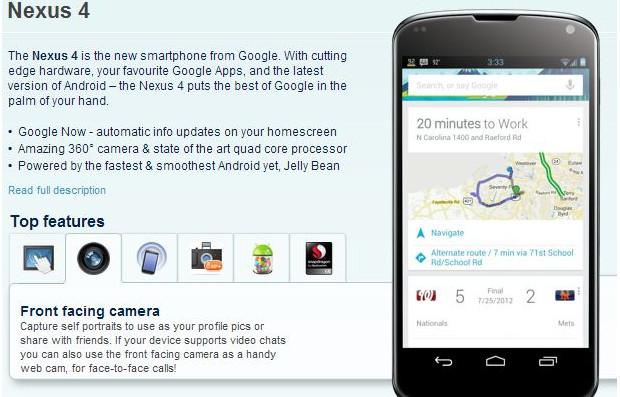 Google Nexus 4 details leaked by clueless Carphone Warehouse