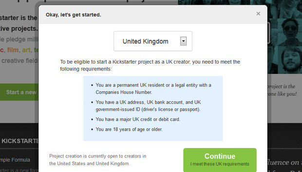 Kickstarter UK launches on October 31st, users invited to building start projects right now