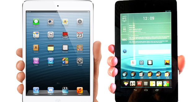 Is Apple iPad Mini's advertising deceptive? Can you hold it in your hand like the advert? We compare with the Nexus 7