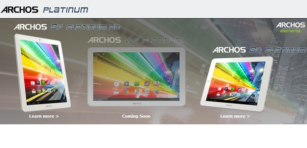 ARCHOS throws down a trio of Android tablets, ARCHOS 80 Platinum, ARCHOS 97 Platinum HD andARCHOS 116 Platinum
