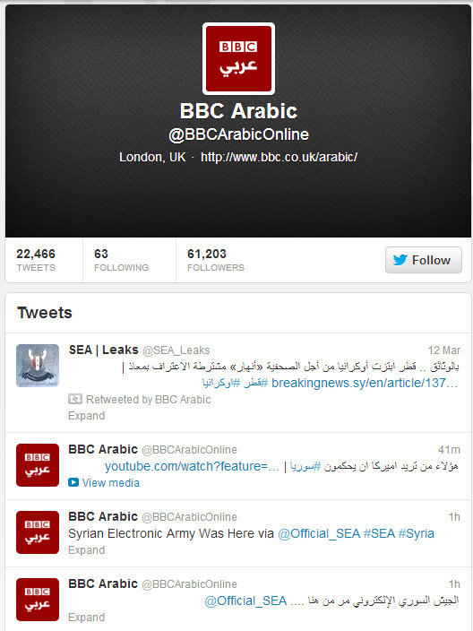 Red faces at the BBC as official weather Twitter feed hacked by Syrian Electronic Army