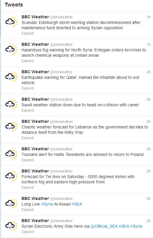 Stormy weather for the BBC as their official weather Twitter feed is hacked by Syrian Electronic Army