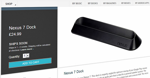 Google Nexus 7 Dock finally arrives in UK and USA Google Play stores