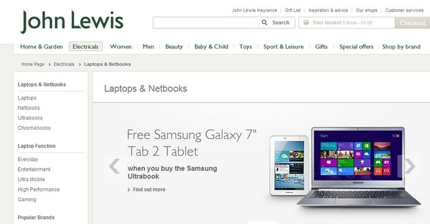 John Lewis bundles 6 months free broadband for any web-connected device they sell