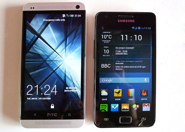 HTC One versus Samsung Galaxy S2 - size comparison