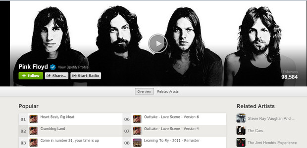 Pink Floyd's entire back catalogue is now available on Spotify
