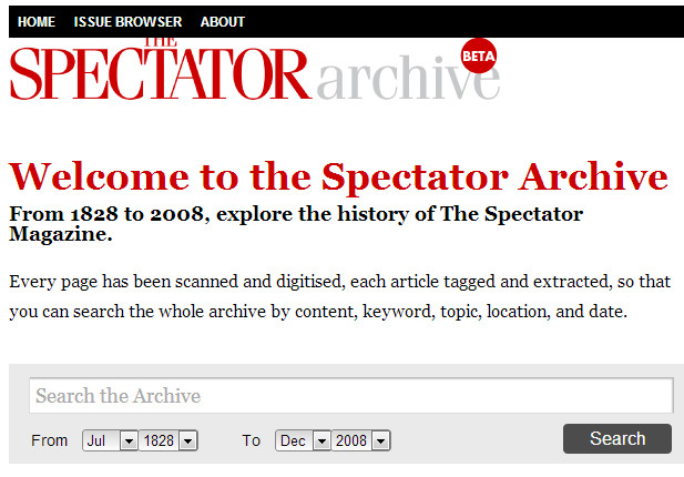 The Spectator posts its archives online, with content dating from 1828