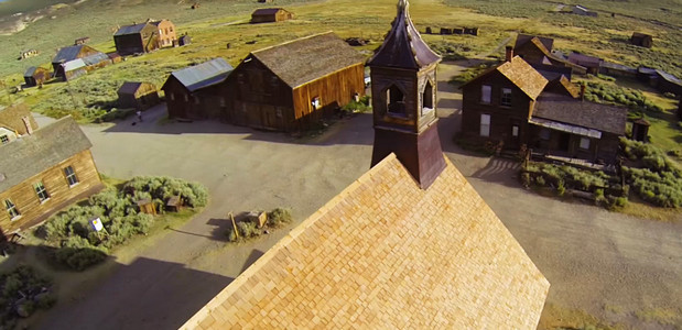Incredible fly-by footage of abandoned Californian mining ghost town