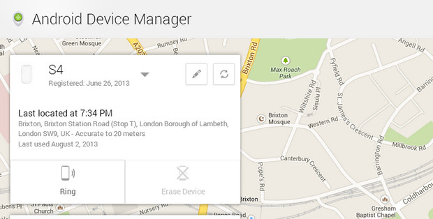 Android Device Manager helps you find and reset lost/stolen phones - with no set up needed