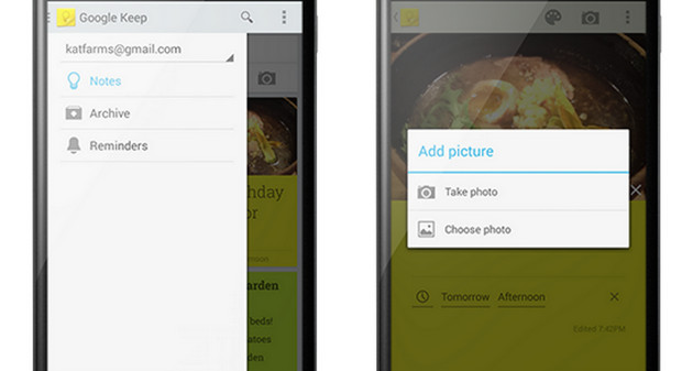 Google Keep note taking works with Google Now to add useful location-aware reminders