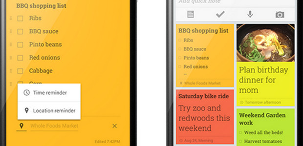 Google Keep note taking app gets useful location-aware reminders