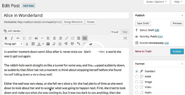 Wordpress version 4.0 serves up a redesigned interface and improved writing experience
