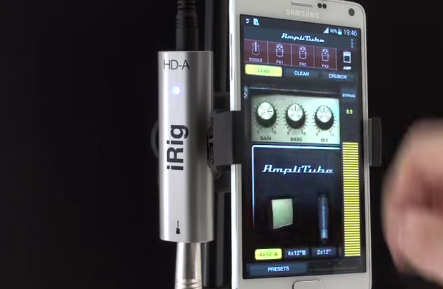 IK Multimedia's AmpliTube and iRig HD-A guitar processing app and digital interfac available for Samsung Android devices