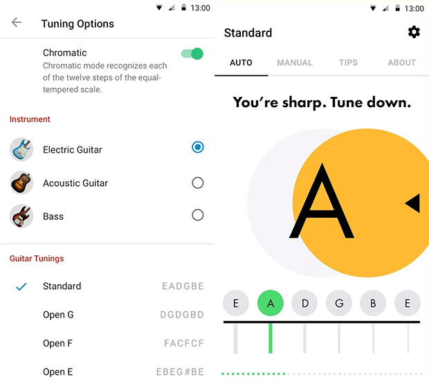 Android axe players get Fender's free guitar tuning app